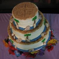 "Top Of Beach Theme Wedding Cake This is the ""topper"" for the beach themed wedding cake I did. The bride wanted a formal monogram topper for this cake in the..."