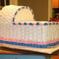 "Bassinet Cake 2 Bassinet is made from 1/2 sheet cake cut in two and the top is made from a 9"" round cut in two."