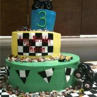 Theron's 3Rd Cake This was for my nephew's 3rd birthday. He had a Monster Truck themed party. It is buttercream icing.