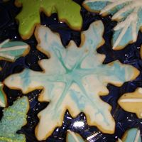 Colorflow Snowflake Cookies   Eggnog cutout cookies, with colorflow/royal icing