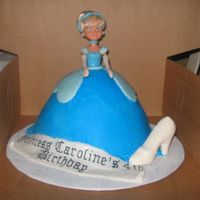 Cinderella Cake Chocolate cake, BC icing, Fondant accents and Chocolate Slipper covered with sugar.