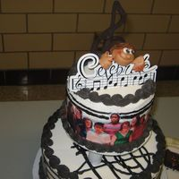 Choir Graduation 2 teir. The cake was on a revolving stand so that we could see all of the choirs