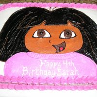 Dora Cake   Dora cake frosted with BC.