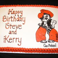 Pistol Pete Birthday Cake   This cake is decorated in BC, except for the Pistol Pete outline. I freehanded that with RI.
