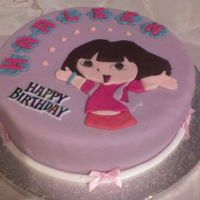 Dora The Explorer sponge with fondant icing,