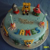 Spongebob i made this for my sons birthday hes crazy on spongebob figures molding from fondant icing