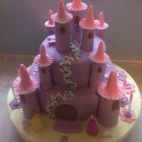 Princess Castle cake is made from sponge the turrets are made from icing left overnight to set,