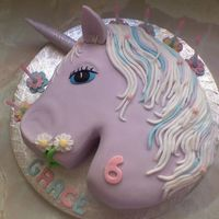 Unicorn sponge cake filled with jam and buttercream. hand sculpted and covered with fondant icing!
