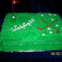 "Golf Cake Neither of these two pics shows the proper color but it is Leaf Green. Yellow cake, 9x13"" sheet, 2 layers, butter cream filling,..."