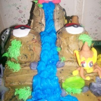 Pokemon Mountain With Kirby  Fondant Pokemon and Kirby with buttercream frosting bushes and waterfalls. Some of the Pokemon featured: Pikachu, Coffing, Poliwhirl, Pichu...