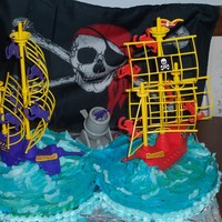 Pirate Cake  I had to post this picture- it is from five years ago when my son wanted a Pirate cake. I had no idea how to make a pirate cake and so I...