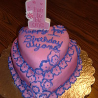 Aiyana's 1St Birthday   Made my own fondant for first time. I used the marshmallow fondant recipe I got on here.