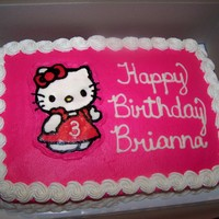 Brianna's Hello Kitty Cake   WASC cake with buttercream icing. Hello Kitty is FBCT.