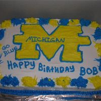 U Of M 9X13 white cake with buttercream frosting.