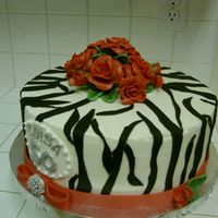 Zebra/red Rose Bd Cake Pina Colada w/ IMBC. Fondant/gp decos. I guess we are all asked to do a zebra sometime. Inspired by some on CC.