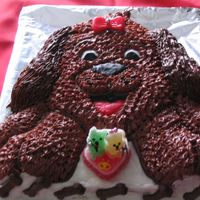 Dog Cake i made this cake for my yorkshire terrier wedding.chocolate cake and chocolate icin and bomboms bones too.but he can eat this cake so i had...