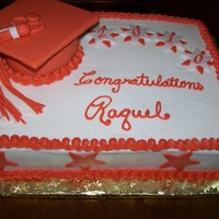 Raquel's Graduation-- Ahs Graduation cake. Marble cake with buttercream. School color is burnt orange. The hat is rice crispy on the bottom and the top is cardboard...
