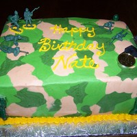 Nate's Camo Nate's CAMO cake. Just a quick little vanilla cake with camo buttercream. Soldiers are plastic so he can play with them later.