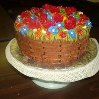 Flower Basket  This cake was the culminating project of the cake class i took. I made the flowers 2 nights before putting them on the cake (air dried) It...