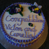 Purple Basketweave Engagement Cake
