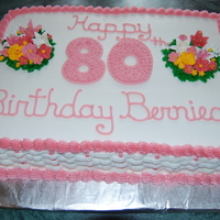 80Th Birthday Pink Flowers And Basketweave