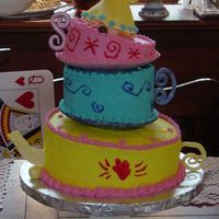 "Mad Tea Party This was made for my sister's bridal luncheon with a ""mad tea party"" theme. WASC cake iced in buttercream dream. Gumpaste..."