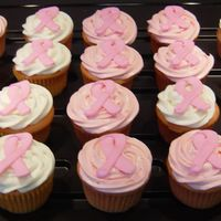 Breast Cancer Cupcakes These were made for a bake sale to benefit the American Cancer Society. Strawberry cake with strawberry or vanilla frosting and royal icing...