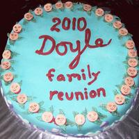 Family Reunion  Our 1st reunion held at a niece's home. I used the Wilton 18'' half round pan. First cake was chocolate cake/icing with...