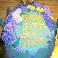 80Th Birthday  Birthday cake for neighbor's Mom. It was a lemon cake, icing & curd. Lilacs andlittle yellow roses were gumpaste, white roses were...