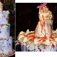 Halloween Wedding  This faux cake was made to help decorate a halloween skit that tookplace at a town function a few years ago. It's covered with royal...