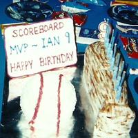 Ian's 9Th Cakes are a carved baseball bat and a ball pan baseball cake. Cakes are lemon with lemon curd filling, lemon BC icing. Scoreboard is royal...