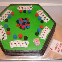 Poker The cake is made with buttercream and the cards ar made with fondant.