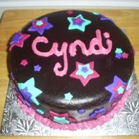 Choc Fondant Star Cake Vanilla cake with choc pudding filling and homemade choc fondant.