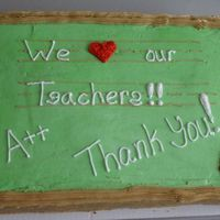 Teacher Appreciation 1/2 sheet white cake, b/c filling, 1/2 filled with fresh strawberries