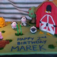 Farm Yard Cake Done for my son's 2nd birthday. All animals and decorations done in fondant except for the straw which is buttercream.