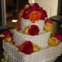 Roses & Basketweave Cake for my Nana's 80th birthday. Buttercream with real roses.