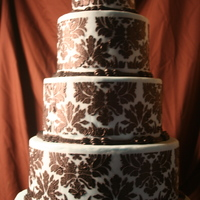 Classy Girl Wedding Blue fondant with Black damask stenciling. This cake was a huge hit at my wedding show.