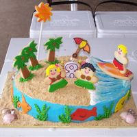 Maggie's Cake Cake 8-year old's birthday using hula/Hawaiian theme. Cake was Devil's food with chocolate ganache filling and chocolate shells...