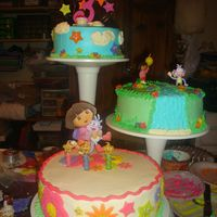 Dora The Explorer three tier cake in buttercream for birthday party. Thanks CC'ers for the ideas.