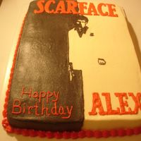 Scarface Scarface sheet cake in buttercream. Idea from others on CC using poster.