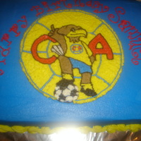 Club America Soccer sheet cake in buttercream