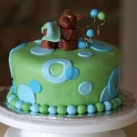 Blue And Green Baby Shower Butter cake with caramel cream filling. The bear didn't turn out as well as usual. Oh well...