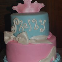 Cinderella Birthday Cake Fondant-covered cake with fondant accents