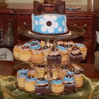 Blue & Brown Cupcake Tower Cupcakes with Mocha Buttercream and fondant accents.