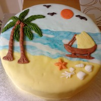 Sri Lankan Beach Sri Lankan Beach, sun, blue sky, coconut trees, golden sand, birds and catamaran fishing boat, This cake reminds me of home. Vanilla sponge...