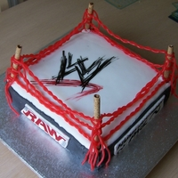 Wwe Ring Cake Wrestling ring chocolate cake, with cigar wafers for the posts and candy worms for the ropes