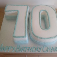70Th Birthday Cake 70th Birthday cake, one letter vanilla sponge and the other with rich fruit cake