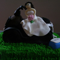 4 Wheeler Bride The 4 wheeler was molded out of rice crispies and covered in buttercream. Bride and accessories made from fondant/gumpaste. At the...