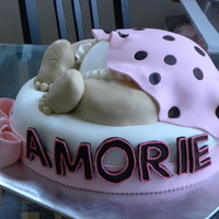 Baby Amorie WASC layered with strawberry filling and vanilla BC, coveredin fondant.