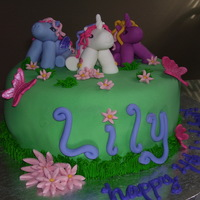 My Little Pony   WASC cake covered in fondant with gumpaste ponies and butterflies.